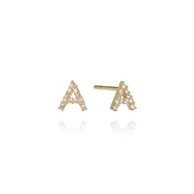 A pair of 18ct Gold Diamond Initial A Stud Earrings
